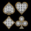 Diamond shaped Card Suits with golden framing — Foto de Stock