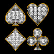 Diamond shaped Card Suits with golden framing — 图库照片
