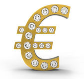 Golden CG Euro symbol incrusted with diamonds — Stock Photo