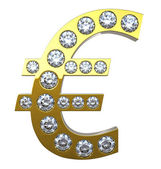 Golden Euro currency symbol with diamonds — Stock Photo