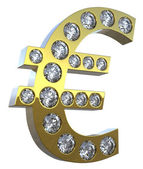 3D Euro symbol incrusted with diamonds — Stock Photo