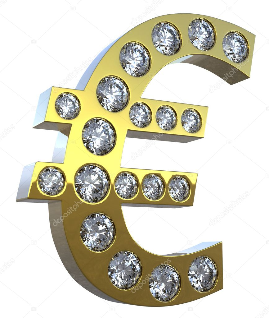 Golden 3D Euro symbol incrusted with diamonds isolated over white. Extralarge resolution. Other gems are in my portfolio. — Stock Photo #3583392