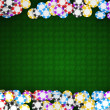 Casino or roulette chips frame on green table - Stock fotografie