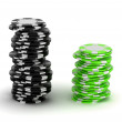 Black and green Casino chip stacks — Stock Photo #3686827