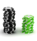Black and green Casino chip stacks — Stock Photo
