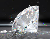 Large diamond with striped reflection — Stock Photo