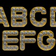 Golden A, B, C, D, E, F, G letters incrusted with diamonds — Stock Photo