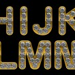 Golden H, I, J, K, L, M, N, letters incrusted with diamonds — Stock Photo
