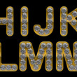 Golden H, I, J, K, L, M, N, letters incrusted with diamonds - Foto de Stock