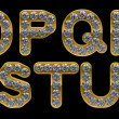 Golden O, P, R, S, T, Q, U letters incrusted with diamonds — Stockfoto