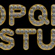 Golden O, P, R, S, T, Q, U letters incrusted with diamonds — Foto de Stock