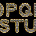 Złoty o, p, r, s, t, q, litery u incrusted z diamentami — Zdjęcie stockowe