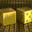 Two golden dies with gems over US dollar background — Stock Photo #3707943