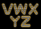 Golden V, Z, W, X, Y letters incrusted with diamonds — Stock Photo
