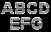 Silver A, B, C, D, E, F, G letters incrusted with diamonds — Stock Photo
