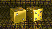 Two golden dies with gems over US dollar background — Foto Stock