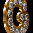 Stock Photo: Golden G letter incrusted with diamonds