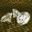 Large diamonds over golden dollar background — Stock Photo