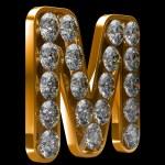 m złoty list incrusted z diamentami — Zdjęcie stockowe