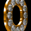 Golden O letter incrusted with diamonds — Stock Photo