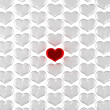 One Red heart among frozen silver ones — Stock Photo