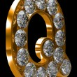 Golden Q letter incrusted with diamonds — Stock Photo