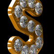 Golden S letter incrusted with diamonds — Foto de Stock