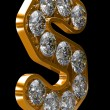 Golden S letter incrusted with diamonds — Stock fotografie