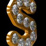 s złoty list incrusted z diamentami — Zdjęcie stockowe