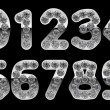 Stock Photo: Silver 0 - 9 numerals incrusted with diamonds