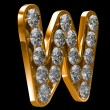 Golden W letter incrusted with diamonds — Zdjęcie stockowe #3720468