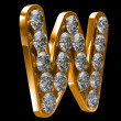 Golden W letter incrusted with diamonds — Stock Photo