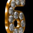 Golden 6 numeral incrusted with diamonds — Zdjęcie stockowe #3720503