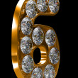 Golden 6 numeral incrusted with diamonds — ストック写真 #3720503