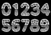 Silver 0 - 9 numerals incrusted with diamonds — Stock Photo