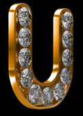 Golden U letter incrusted with diamonds — Stock Photo
