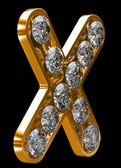Golden X letter incrusted with diamonds — Stock Photo