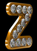 Golden z letter incrusted with diamonds — Stock Photo