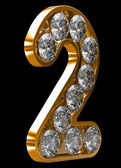 Golden 2 numeral incrusted with diamonds — Stock Photo