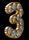 Golden 3 numeral incrusted with diamonds — Stock Photo
