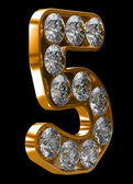 Golden 5 numeral incrusted with diamonds — Stock Photo