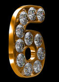 Golden 6 numeral incrusted with diamonds — Stock Photo
