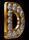 Incrusted 与钻石的金 d 字母 — 图库照片