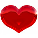 Semitransparent red heart shape isolated — Stock Photo
