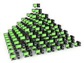 Conceito de rede de pc pirâmide — Foto Stock