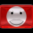 Smiley emoticon red button or headlight — Stock Photo