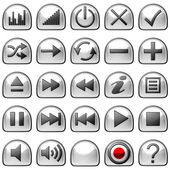 Semicircular grey Control panel icons or buttons — Stock Photo