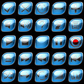 Blue Control panel icons or buttons — Stock Photo