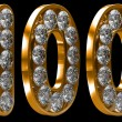 Royalty-Free Stock Photo: Golden 100 numeral incrusted with diamonds