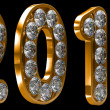 Golden 2011 year incrusted with diamonds — Stock Photo